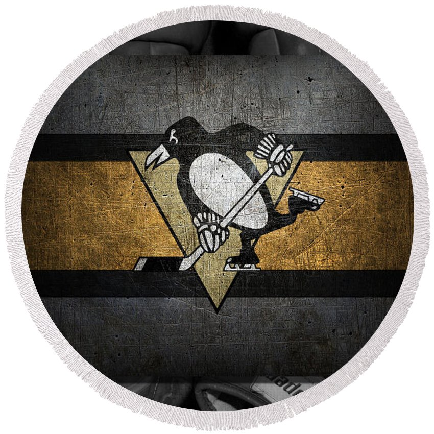 Penguins Round Beach Towel featuring the photograph Pittsburgh Penguins by Joe Hamilton
