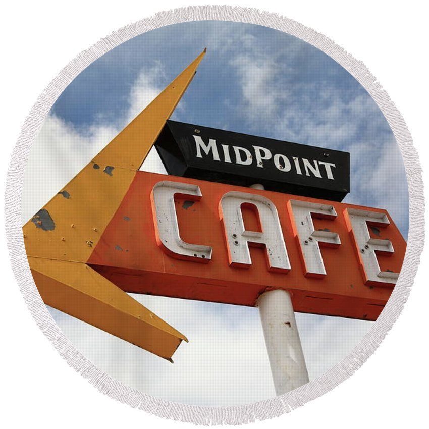 66 Round Beach Towel featuring the photograph Route 66 Cafe by Frank Romeo