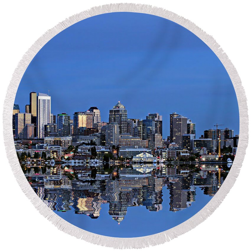 Seattle Round Beach Towel featuring the photograph Seattle by Paul Fell