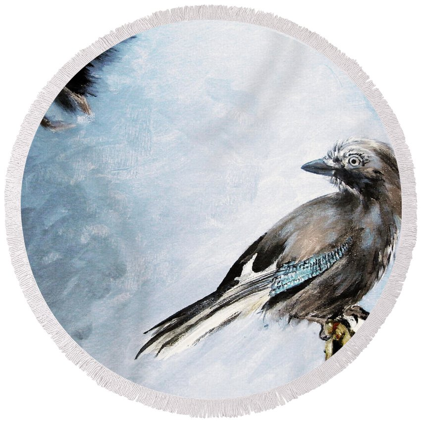 Jay Round Beach Towel featuring the painting The Wintery Tales by Angel Ciesniarska