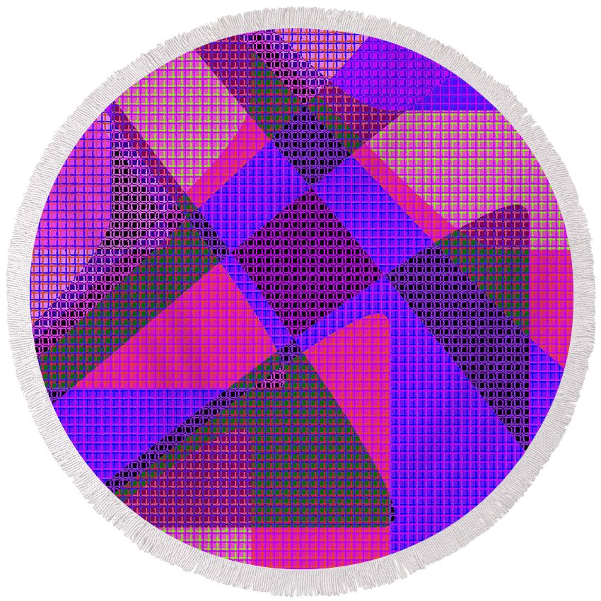 Abstract Round Beach Towel featuring the digital art 1038 Abstract Thought by Chowdary V Arikatla