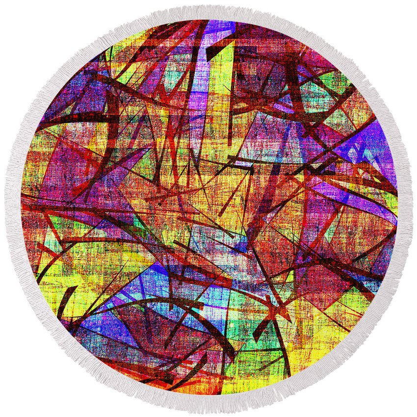 Abstract Round Beach Towel featuring the digital art 1261 Abstract Thought by Chowdary V Arikatla