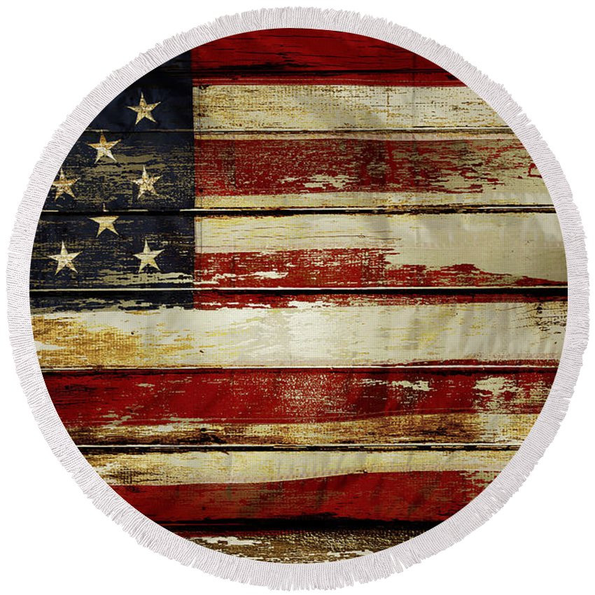 Flag Round Beach Towel featuring the photograph American Flag 54 by Les Cunliffe
