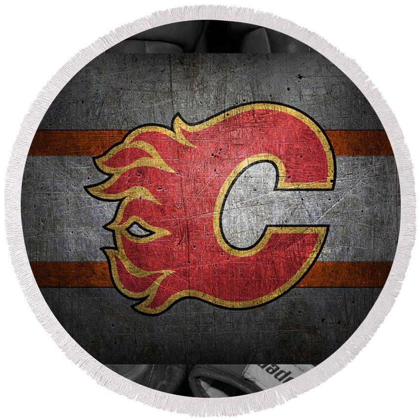 Flames Round Beach Towel featuring the photograph Calgary Flames by Joe Hamilton