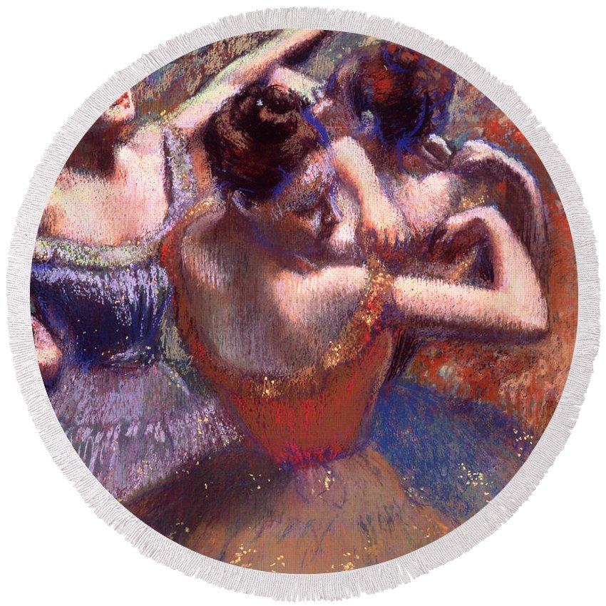 Painting Round Beach Towel featuring the painting Dancers by Mountain Dreams