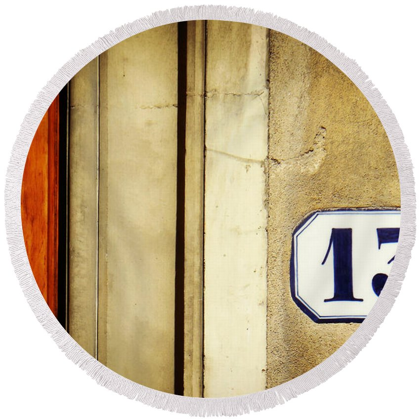 13 Round Beach Towel featuring the photograph 13 With Wooden Door by Valerie Reeves