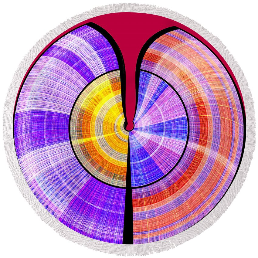 Abstract Round Beach Towel featuring the digital art 1330 Abstract Thought by Chowdary V Arikatla