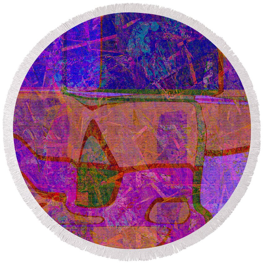Abstract Round Beach Towel featuring the digital art 1381 Abstract Thought by Chowdary V Arikatla