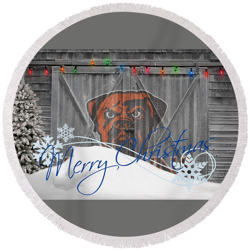 Browns Round Beach Towel featuring the photograph Cleveland Browns by Joe Hamilton