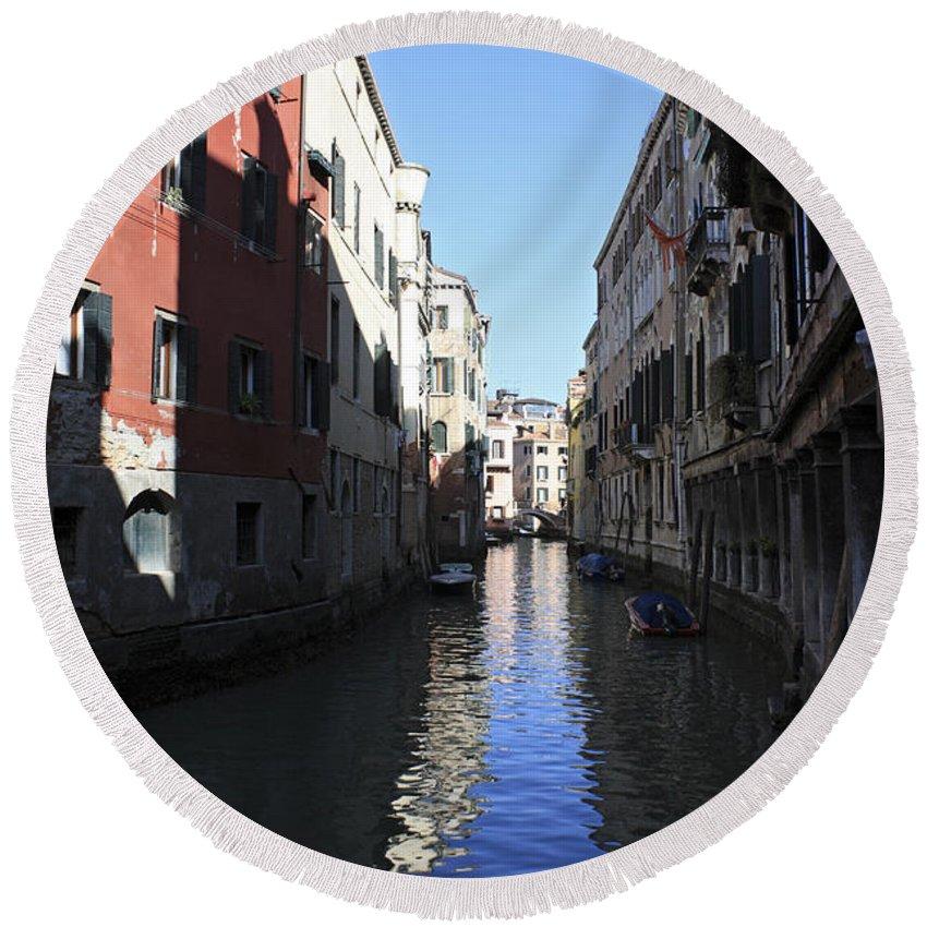 Canal Venice Italy Gondola Venetian Romantic City Italian Europe European Round Beach Towel featuring the photograph Narrow Canal Venice Italy by Julia Gavin