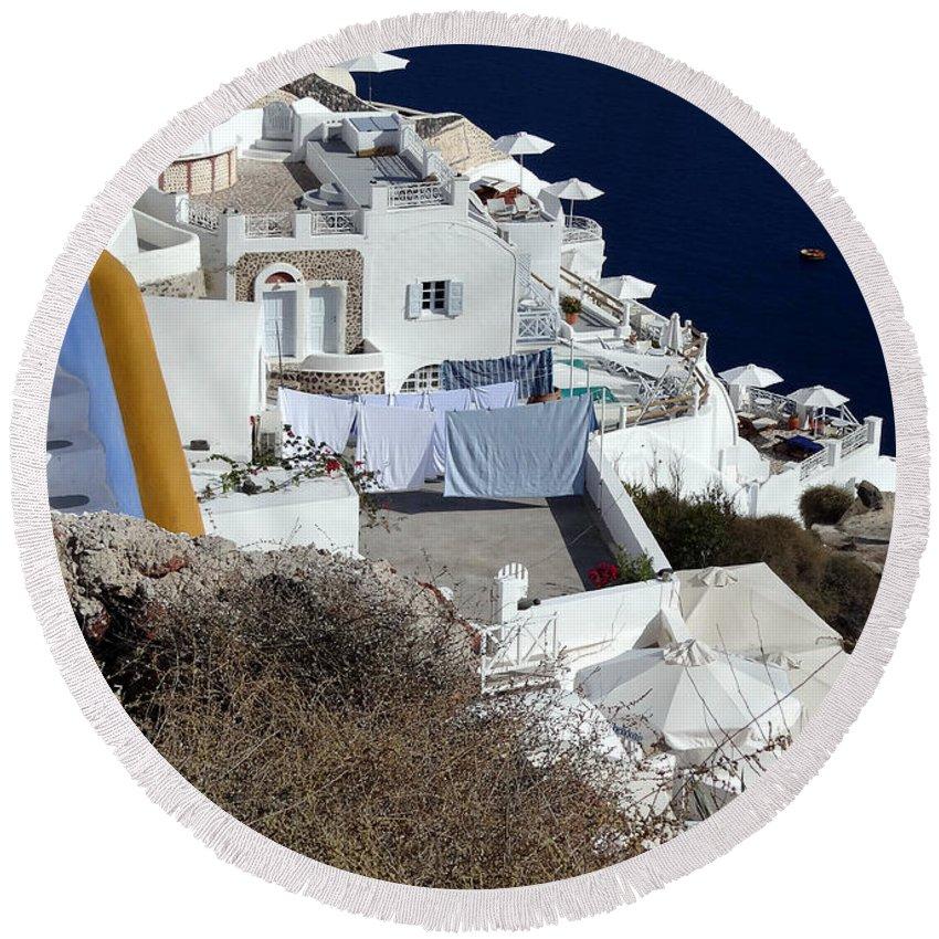 Santorini Round Beach Towel featuring the photograph Views Of Santorini Greece by Richard Rosenshein