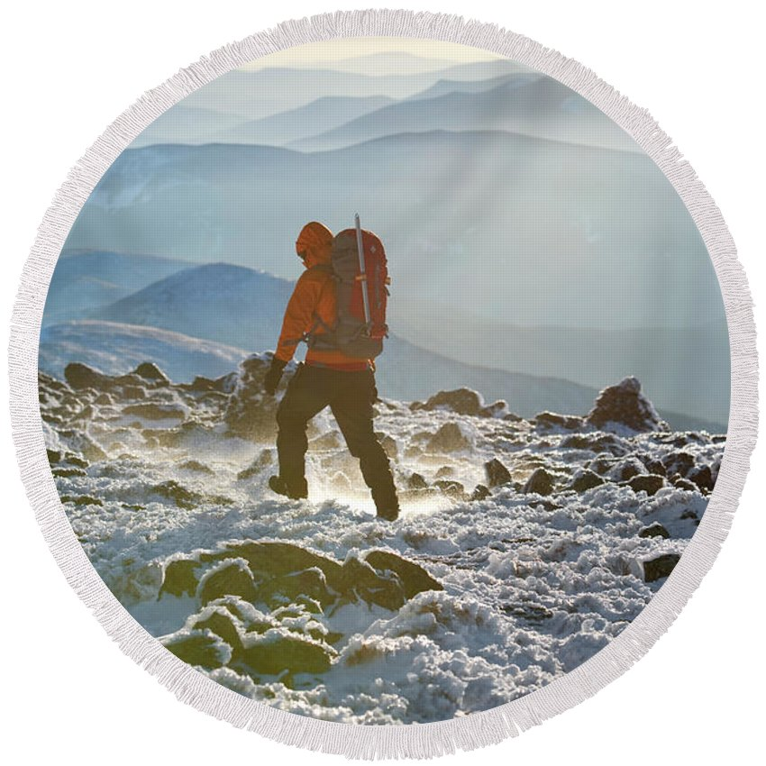 Adventure Round Beach Towel featuring the photograph A Summit Intern Hikes The Northwest by Jose Azel