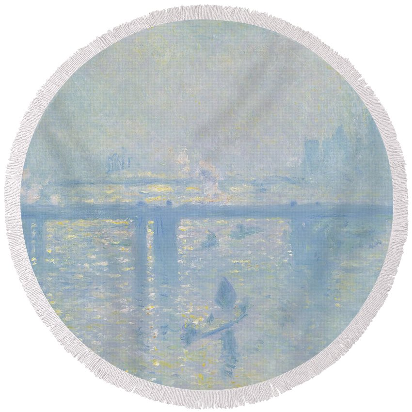 Claude Monet Round Beach Towel featuring the painting Charing Cross Bridge by Claude Monet