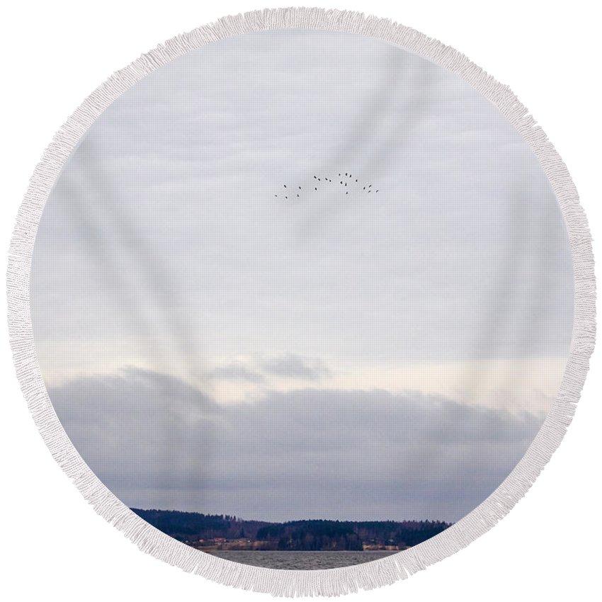 Finland Round Beach Towel featuring the photograph Eurasian Cranes by Jouko Lehto