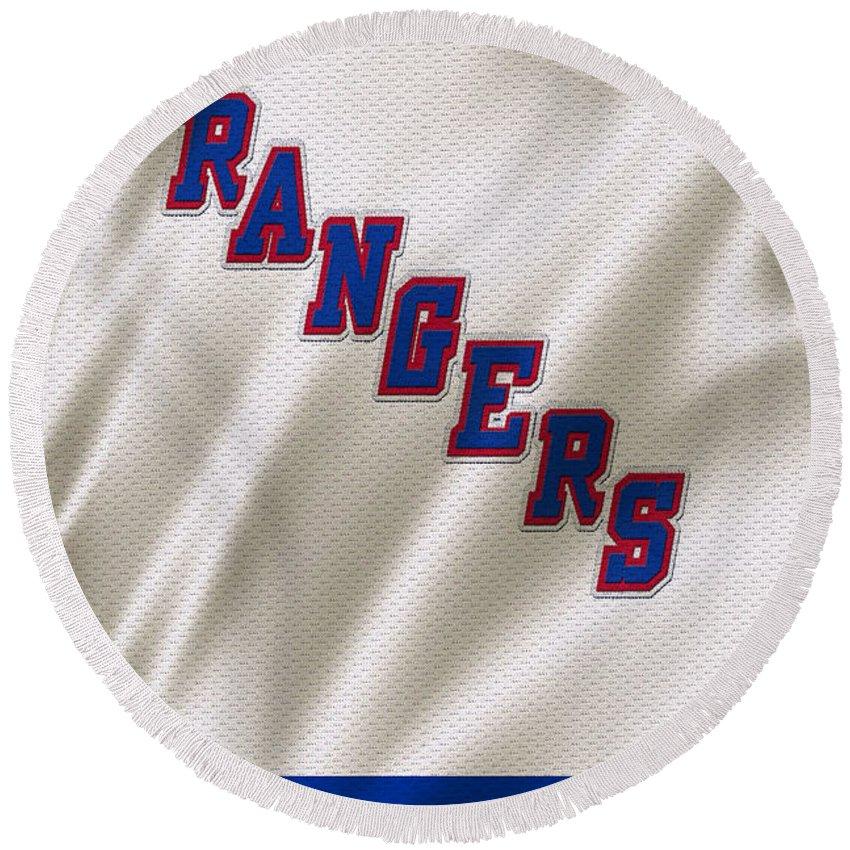 Rangers Round Beach Towel featuring the photograph New York Rangers by Joe Hamilton
