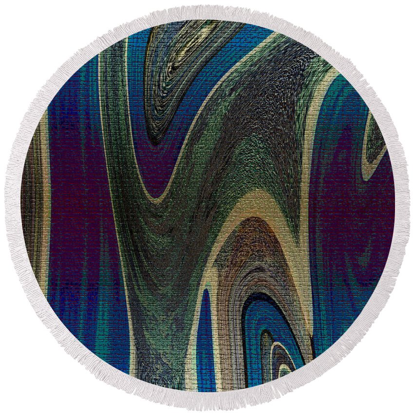 Abstract Round Beach Towel featuring the digital art 1501 Abstract Thought by Chowdary V Arikatla