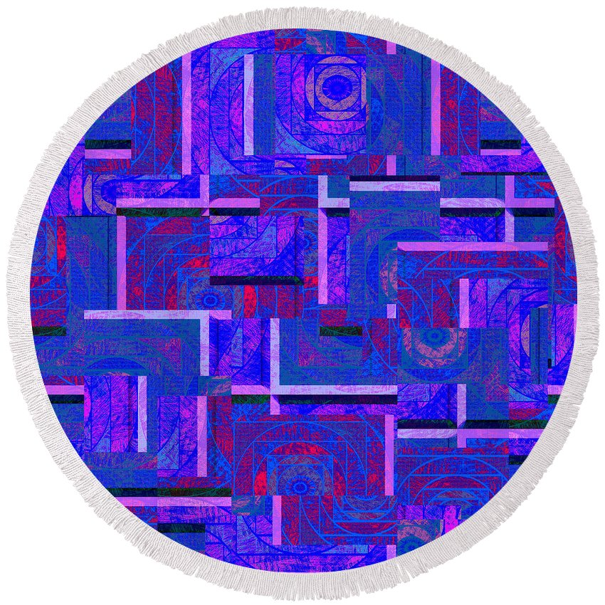 Abstract Round Beach Towel featuring the digital art 1527 Abstract Thought by Chowdary V Arikatla