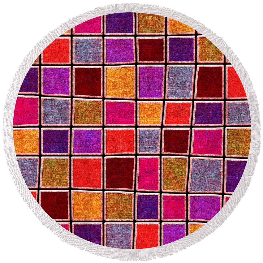 Abstract Round Beach Towel featuring the digital art 1535 Abstract Thought by Chowdary V Arikatla