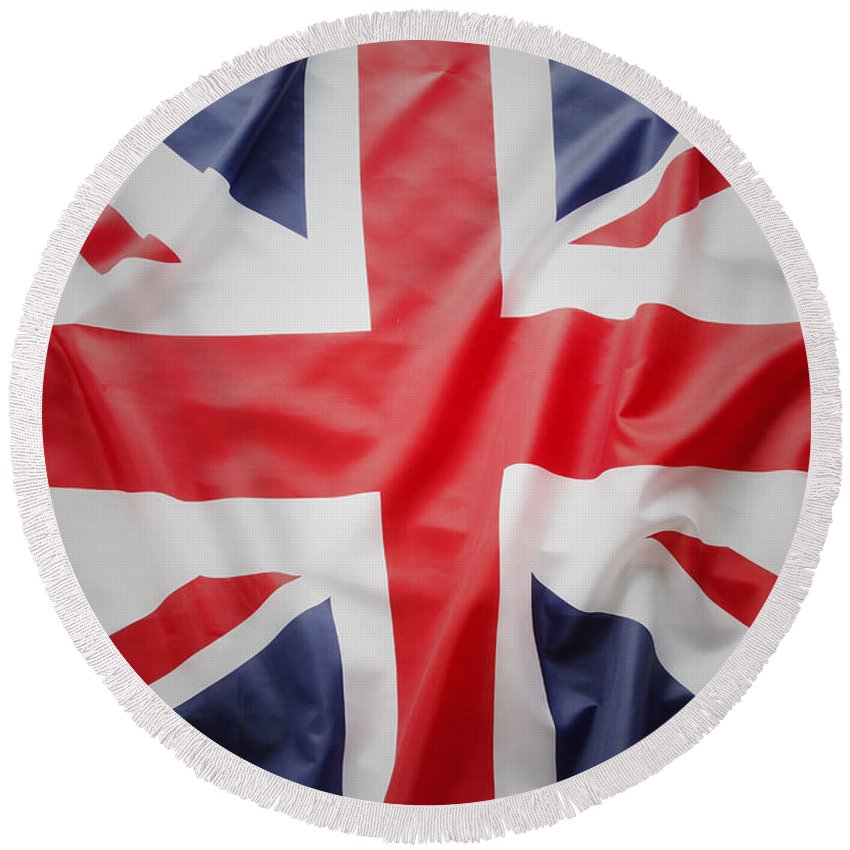 Flag Round Beach Towel featuring the photograph British Flag 23 by Les Cunliffe