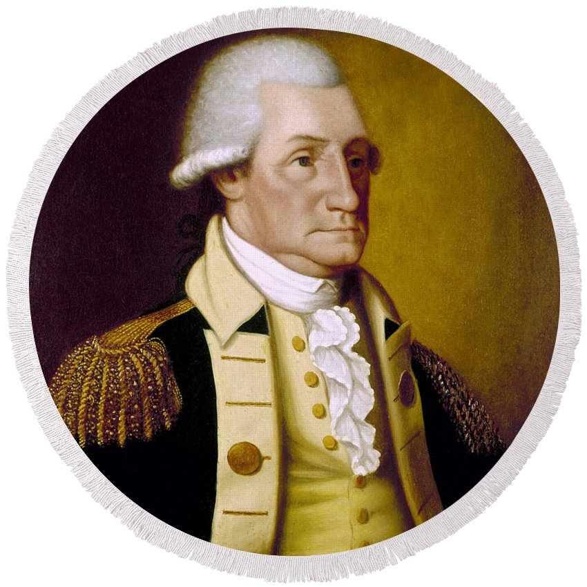 1790 Round Beach Towel featuring the photograph George Washington by Granger