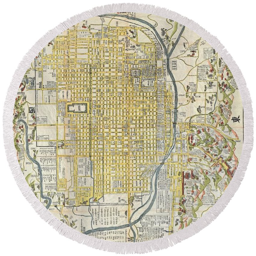 1696 Genroku 9 Early Edo Japanese Map Of Kyoto Japana Rare 1696 Japanese Woodblock Map Of Kyoto Round Beach Towel featuring the photograph 1696 Genroku 9 Early Edo Japanese Map Of Kyoto Japan by Paul Fearn