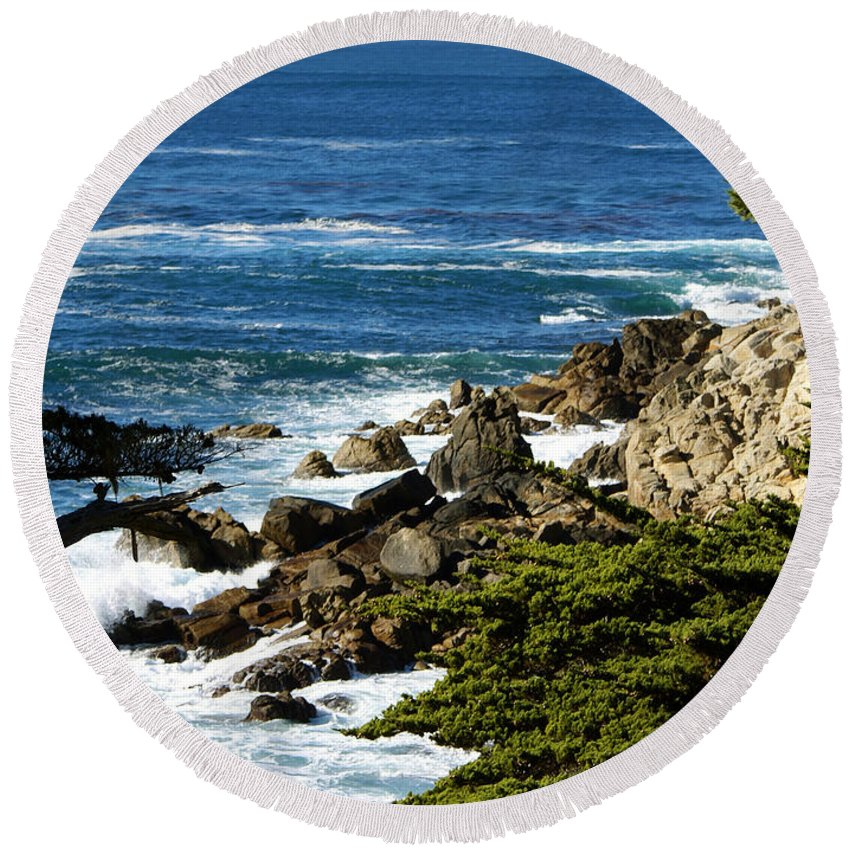 Barbara Snyder Round Beach Towel featuring the digital art 17 Mile Drive Detail by Barbara Snyder