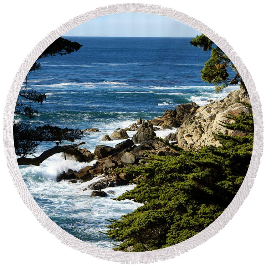 17 Mile Drive Iv Round Beach Towel featuring the digital art 17 Mile Drive Iv by Barbara Snyder