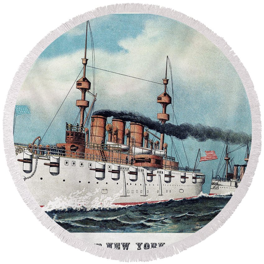 1893 Round Beach Towel featuring the painting U.s. Navy Cruiser, 1893 by Currier and Ives