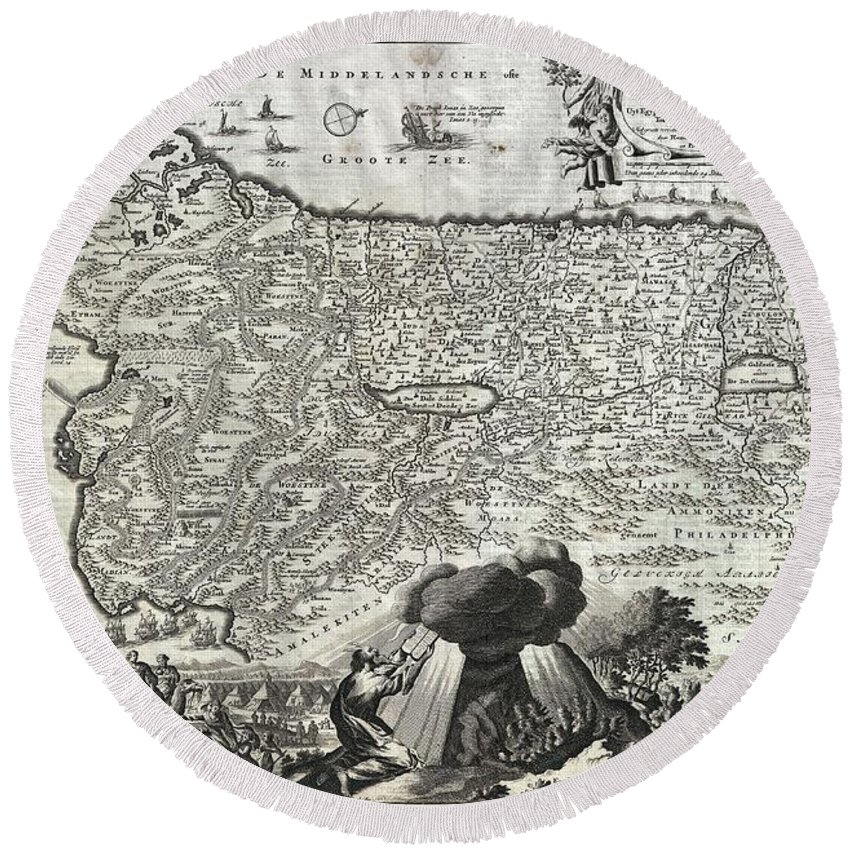 An Absolutely Stunning 1702 Map Of The Holy Land Round Beach Towel featuring the photograph 1702 Visscher Stoopendaal Map Of Israel by Paul Fearn