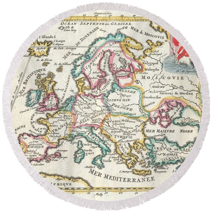 A Very Scarce Round Beach Towel featuring the photograph 1706 De La Feuille Map Of Europe by Paul Fearn