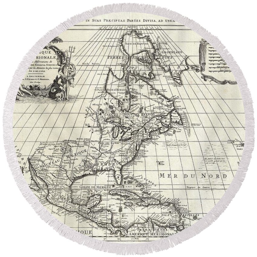 An Extraordinary Map Round Beach Towel featuring the photograph 1708 De Lisle Map Of North America by Paul Fearn