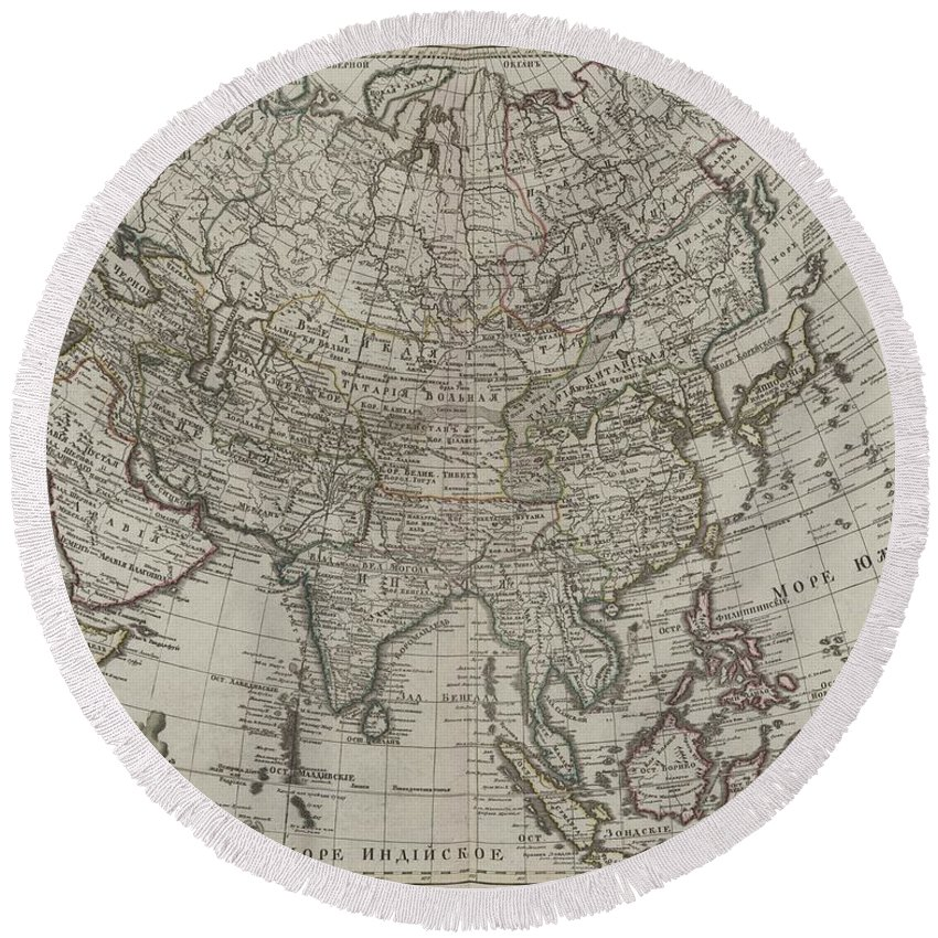 1745 Asia Map Round Beach Towel featuring the mixed media 1745 Asia Map by Dan Sproul