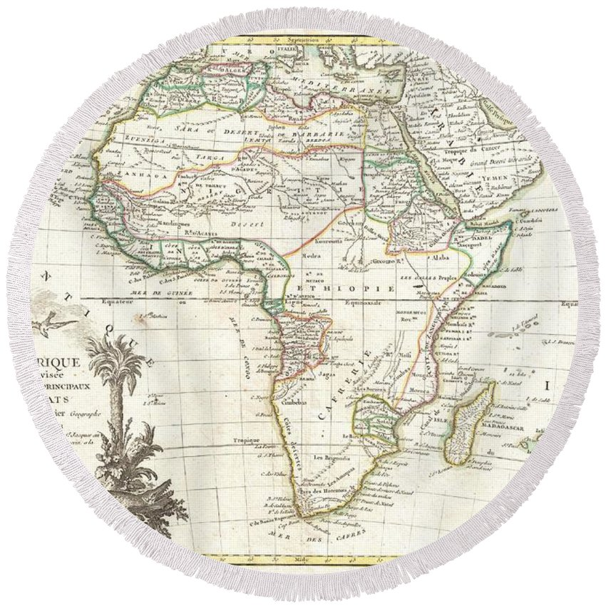 A Beautiful Example Of Jean Janvier's 1762 Map Of Africa. Covers The Entire Continent As Well As The Island Of Madagascar And Adjacent Parts Of Persia And Arabia. Divided Into Various Regions With Color-coding According To The Colonial Power Active In The Region. Course Of The Nile Follows The Ptolemaic Two Lake Theory. Shows The Mountains Of The Moon Just South Of The Ptolemaic Lakes. In Southeastern Africa There Is A Long Lake Speculatively Drawn In And Labeled L. Maram Round Beach Towel featuring the photograph 1762 Janvier Map Of Africa by Paul Fearn