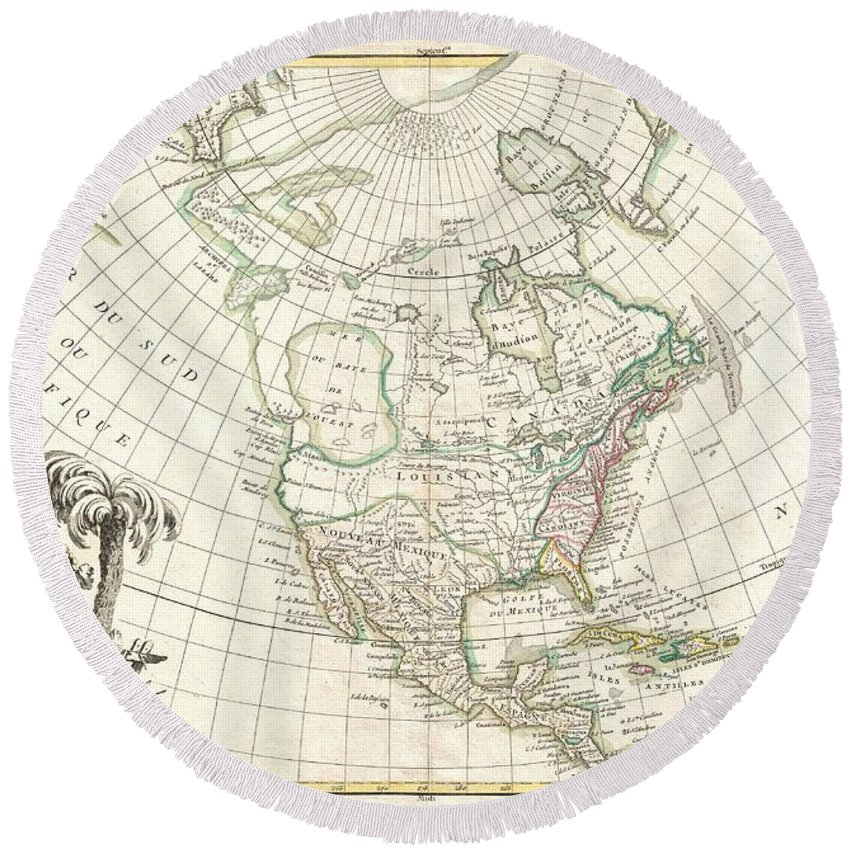 An Altogether Fascinating Map Of North America By Jean Janvier Dating To 1862. Covers The Continent From Panama To The Arctic Circle Round Beach Towel featuring the photograph 1762 Janvier Map Of North America by Paul Fearn