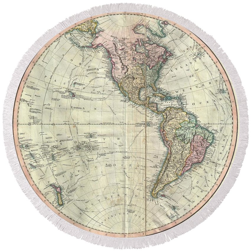 An Attractive Example Of John Cary's Spectacular 1799 Map Of The Western Hemisphere. Covers The Entirety Of North America Round Beach Towel featuring the photograph 1799 Cary Map Of The Western Hemisphere by Paul Fearn