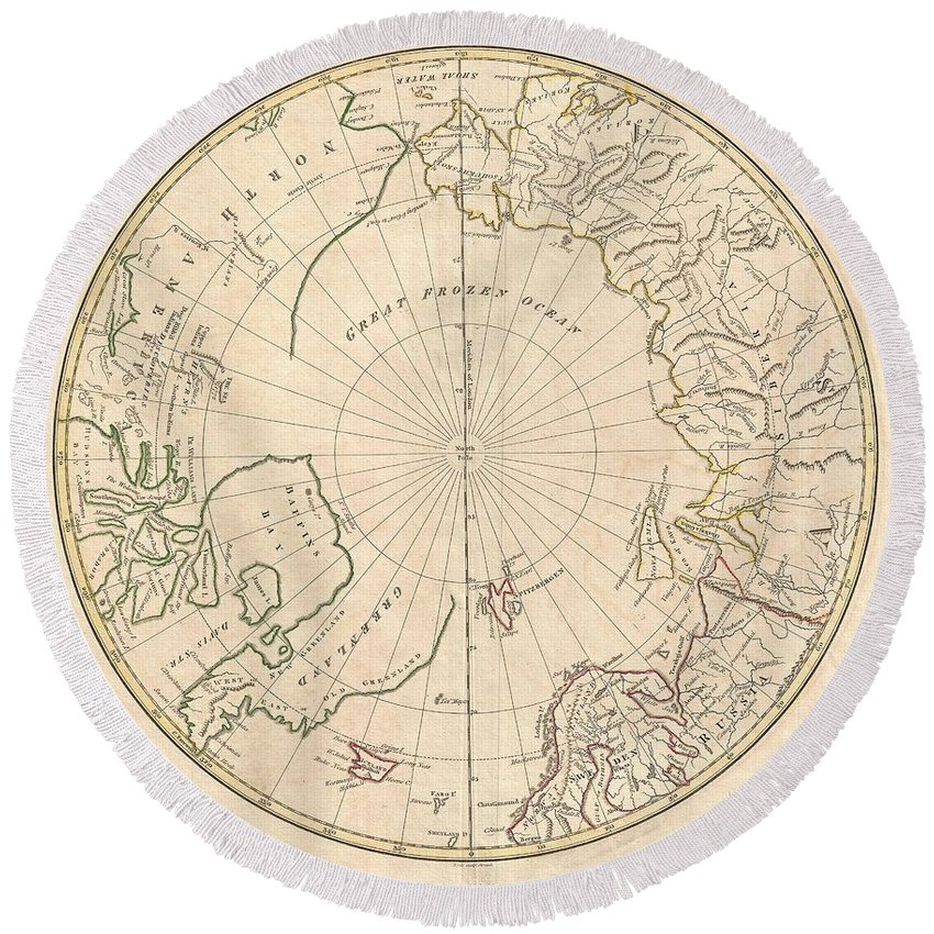 : A Fine 1799 Map Of The Northern Polar Regions By The English Map Publisher Clement Cruttwell. Covers The Polar Regions From Roughly 60 Degrees North Latitude To The North Pole. Reveals A Primitive Yet Ephemeral Understanding Of Arctic Geography. Evidence Of The Exploratory Work Of Tschirikow And Vitus Bering Is Clear In The Northeast Parts Of Asia And Siberia. However Round Beach Towel featuring the photograph 1799 Clement Cruttwell Map Of North Pole by Paul Fearn