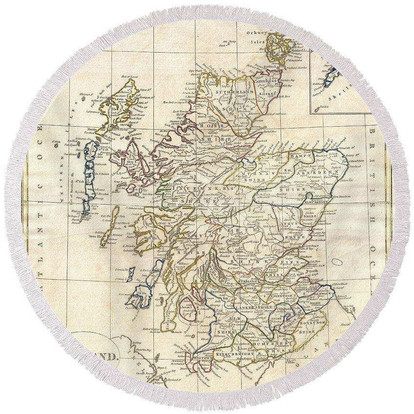 A Fine 1799 Map Of Scotland By The English Map Publisher Clement Cruttwell. Covers The Entire Region In Great Detail Round Beach Towel featuring the photograph 1799 Clement Cruttwell Map Of Scotland by Paul Fearn