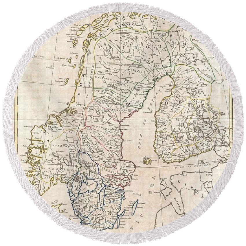 A Fine 1799 Map Of Sweden Round Beach Towel featuring the photograph 1799 Clement Cruttwell Map Of Sweden Denmark And Norway by Paul Fearn