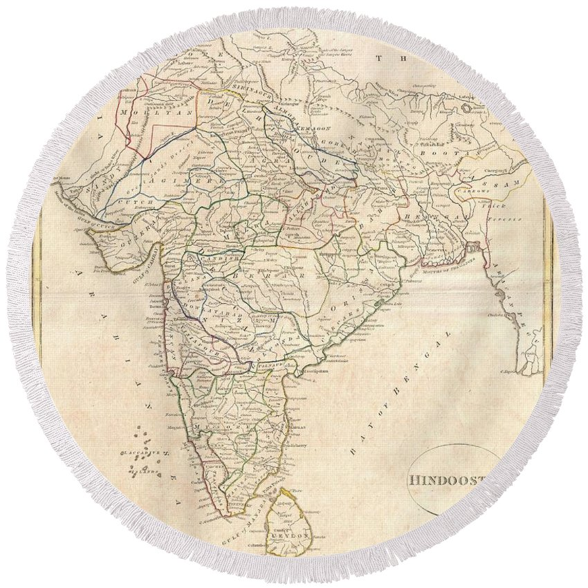 A Fine 1799 Map India Round Beach Towel featuring the photograph 1799 Clement Crutwell Map Of Hindoostan by Paul Fearn
