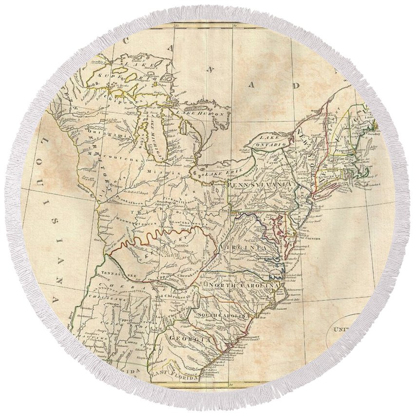This Is A Highly Unusual And Extremely Scarce 1799 Map Of The United States By The English Map Publisher Clement Cruttwell. Depicts A Post-colonial Pre-louisiana United States Extending From The Mississippi River To The Atlantic Seaboard And From Florida To Canada. Though Clearly Based On Guthrie's C. 1780s Map Of The Same Title Round Beach Towel featuring the photograph 1799 Cruttwell Map Of The United States Of America by Paul Fearn