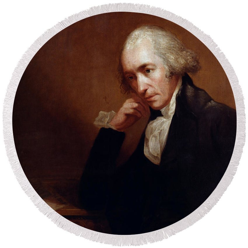 1792 Round Beach Towel featuring the painting James Watt (1736-1819) by Granger