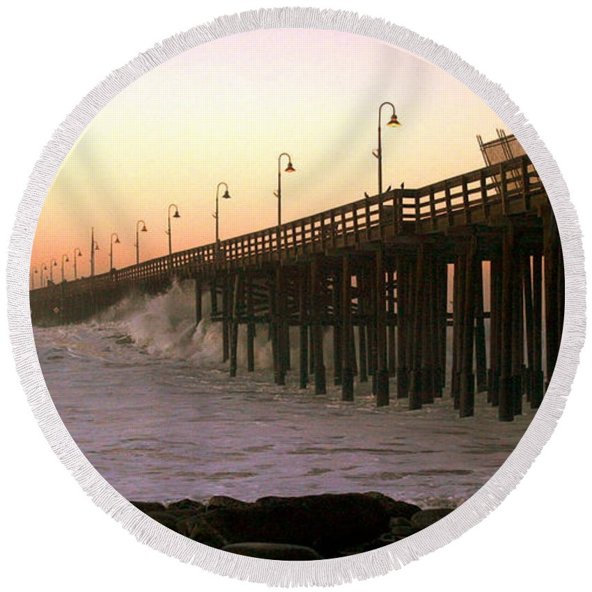 Sunrise Round Beach Towel featuring the photograph Ocean Wave Storm Pier by Henrik Lehnerer
