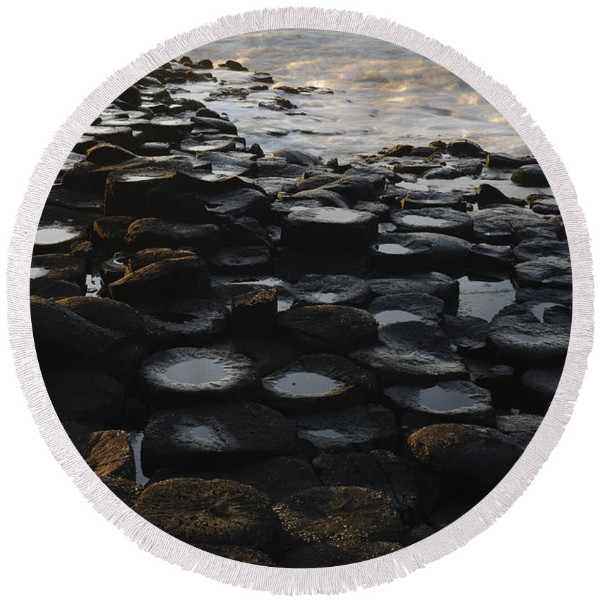 Landscape Round Beach Towel featuring the photograph The Giants Causeway by John Shaw
