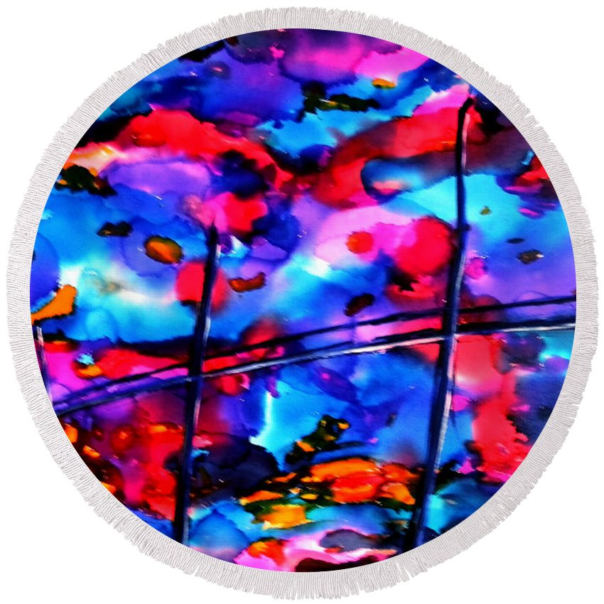 Abstract Round Beach Towel featuring the painting 18 X 24.2 by Art by Kar
