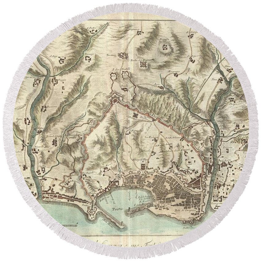 An Beautifully Engraved And Extremely Obscure 1800 Map Of Genoa Or Genova Round Beach Towel featuring the photograph 1800 Bardi Map Of Genoa Genova Italy by Paul Fearn