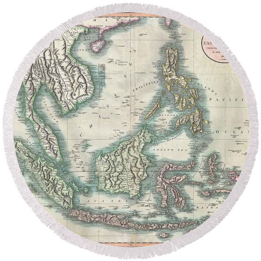 An Exceptionally Beautiful Example Of John Cary's Important 1801 Map Of The East Indies. Covers All Of Southeast Asia And The Malay Peninsula Round Beach Towel featuring the photograph 1801 Cary Map Of The East Indies And Southeast Asia Singapore Borneo Sumatra Java Philippines by Paul Fearn