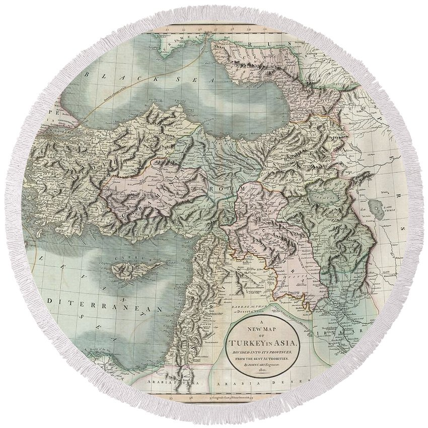 This Is A Stunning 1801 Map Of Turkey In Asia By English Cartographer John Cary. Depicts The Vast Regions In Asia Controlled By The Ottoman Empire At The Close Of The 18th Century. Includes The Modern Day Nations Of Turkey Round Beach Towel featuring the photograph 1801 Cary Map Of Turkey Iraq Armenia And Sryia by Paul Fearn