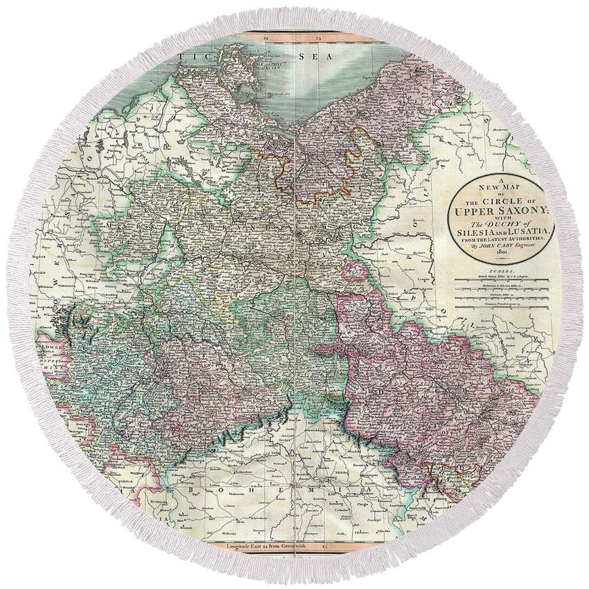 An Attractive Example Of John Cary's 1801 Map Of Upper Saxony Round Beach Towel featuring the photograph 1801 Cary Map Of Upper Saxony Germany Berlin Dresden by Paul Fearn