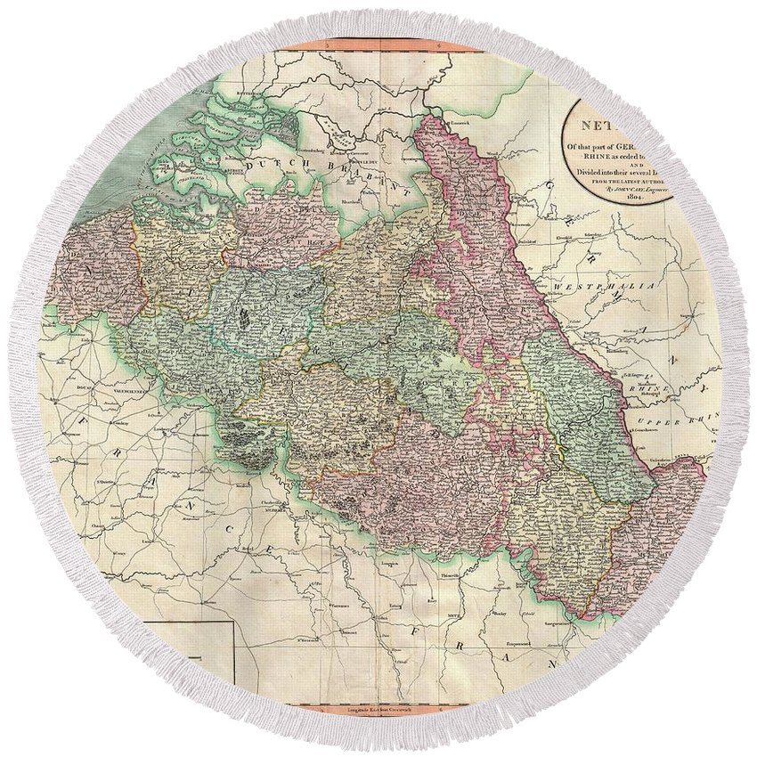 "Despite Being Entitled ""the Netherlands"" Round Beach Towel featuring the photograph 1804 Cary Map Of Belgium And Luxembourg by Paul Fearn"