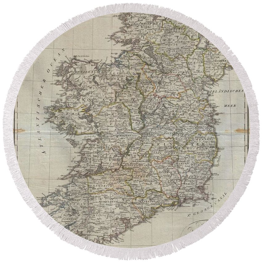 An Uncommon Map Of Ireland Dating To 1804. Though Published By The German Geographical Institute Round Beach Towel featuring the photograph 1804 Jeffreys And Kitchin Map Of Ireland by Paul Fearn
